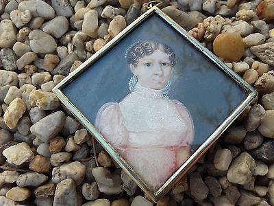 portrait miniature aristocrate dame société 1810-15 Empire Restauration diadème