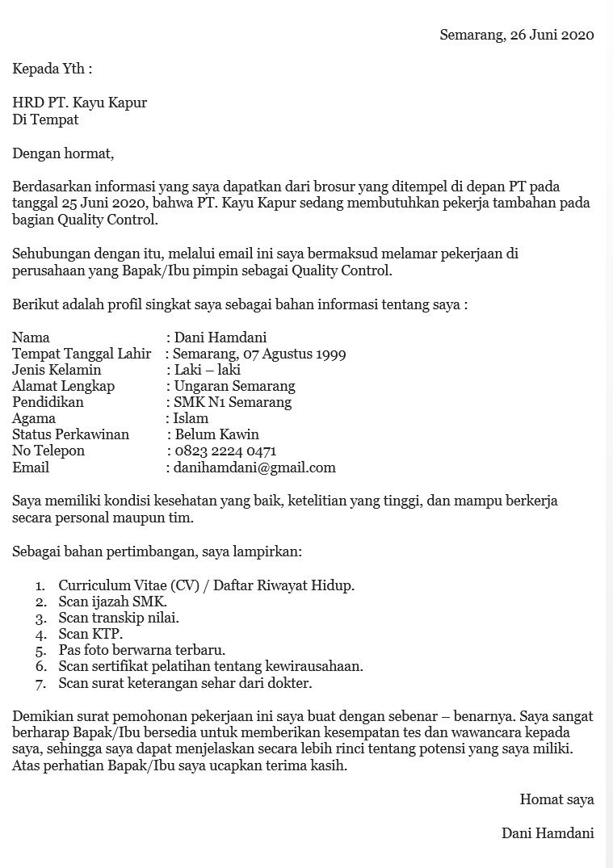 34 Contoh Surat Lamaran Kerja Di Pt Sebagai Karyawan Pabrik Di 2021 Surat Desain Kalender Brosur