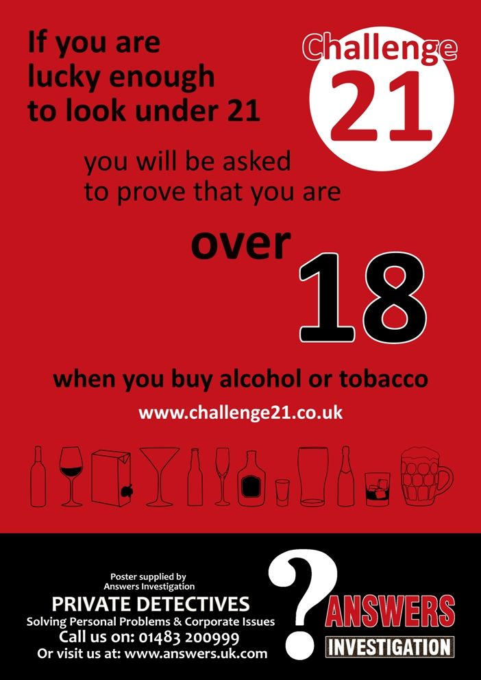 Selling #alcohol or #tobacco? #Challenge21 posters - free wipeclean posters + free postage can be ordered at  http://www.challenge21.co.uk/posters.html  Or by telephone on 0871 246 2750 - talk to us for low cost #training on-site  #Challenge25 posters can be ordered at http://www.challenge25.co.uk