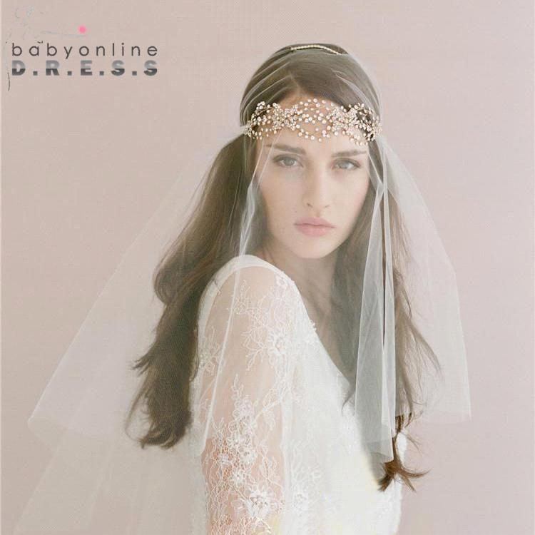 2 Sets Veil Headband Hippie Boho Wedding Bridal