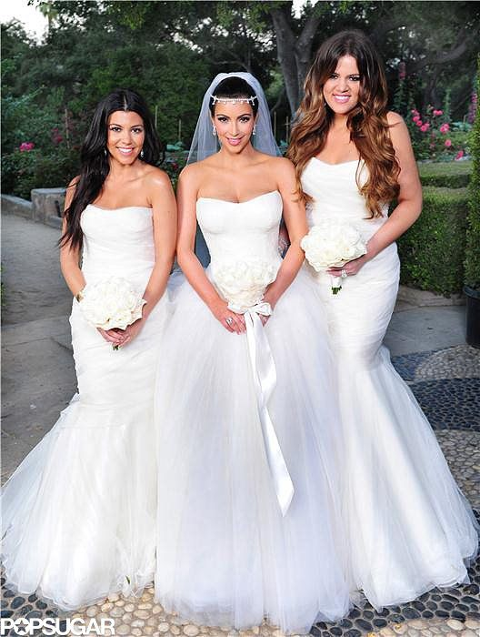 Kim Kardashian Had The Support Of Her Sisters Kourtney And Khloe At All The Celebrities Who Have Served As A Friend S Bridesmaid Kim Kardashian Wedding Dress Ball Gowns Wedding Bridal