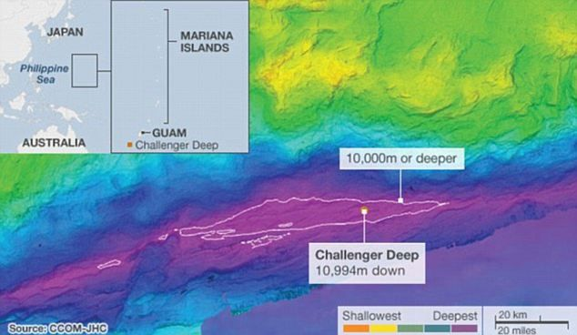 Challenger Deep, Mariana Trench, Western Pacific The Mariana Trench - copy world map with ocean trenches