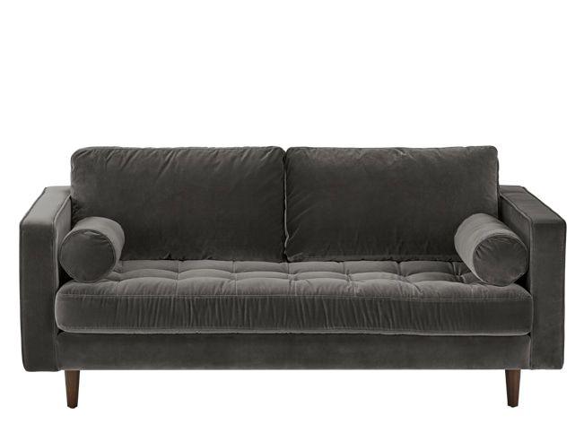 Scott Large 2 Seater Sofa Concrete Cotton Velvet