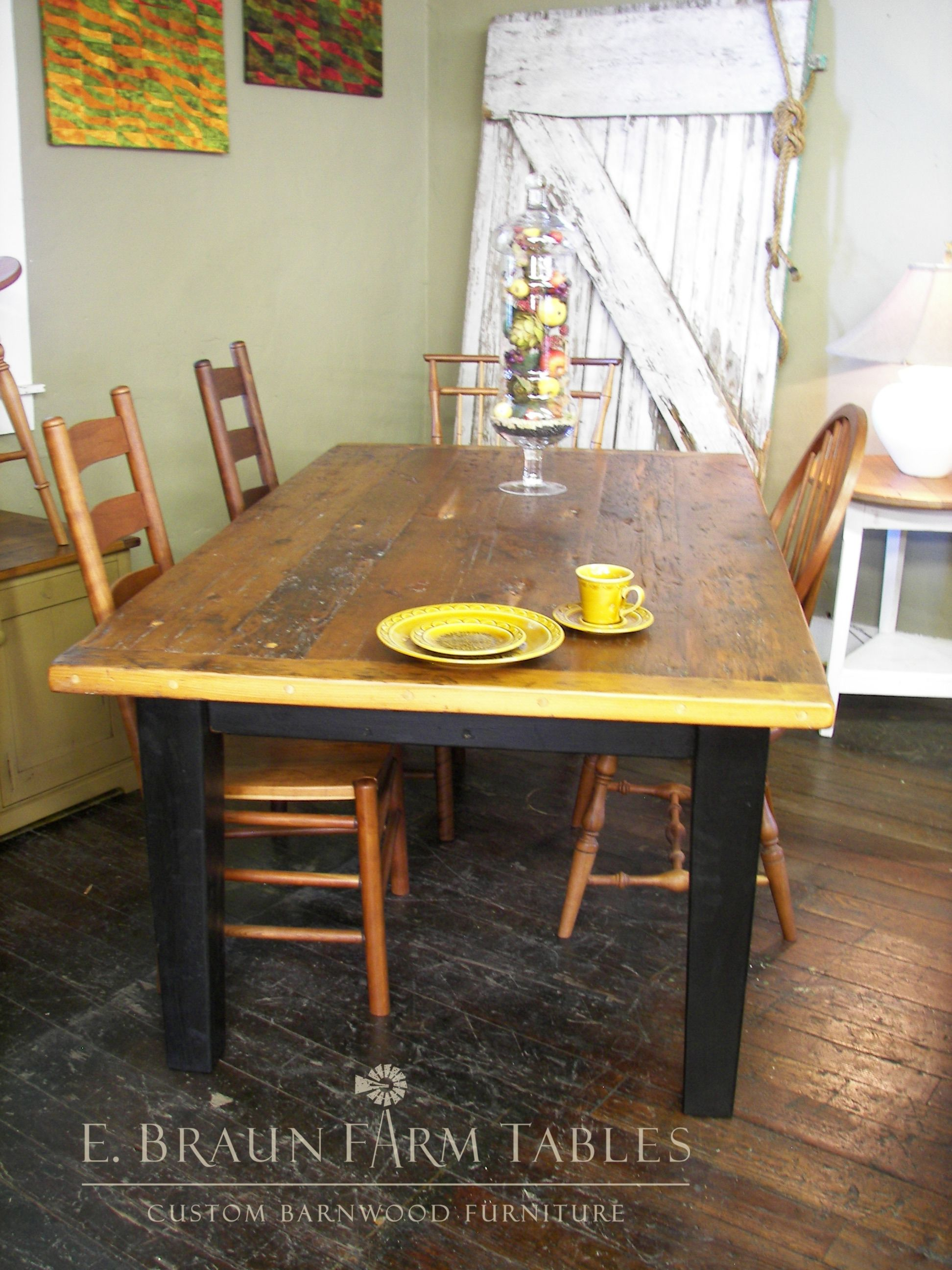 Superieur High Character White Pine Farm Table With Tapered Legs   E. Braun Farm  Tables And Furniture   We Use Wood From Dismantled Barns And Log Homes  Dating From ...