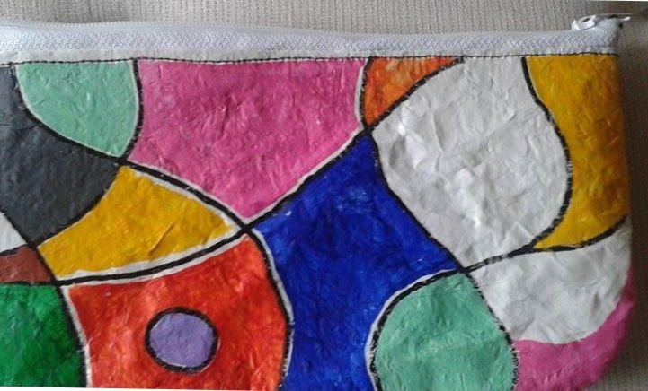 plastic fused zippered pouch - painted using acrylics - marzo15
