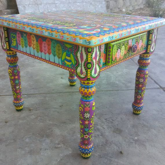 Bohemian style hand painted side table   Home & Decor ...