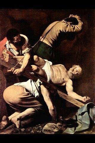 La crucifixión de San Pedro- Caravaggio Este oleo, representa una de mis obras favoritas de arte, de uno de mis pintores favoritos. Por su capacidad de cautivar y estremecer.  El rostro del apostol atrae nuestras miradas sistematicamente.