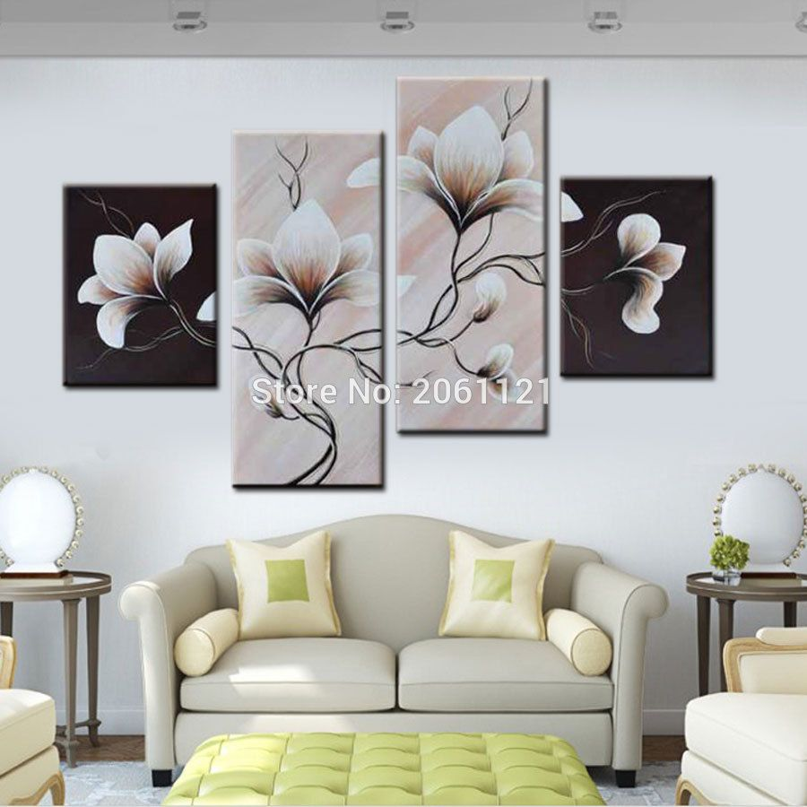4 panels group oil painting on canvas flowers black white style wall ...