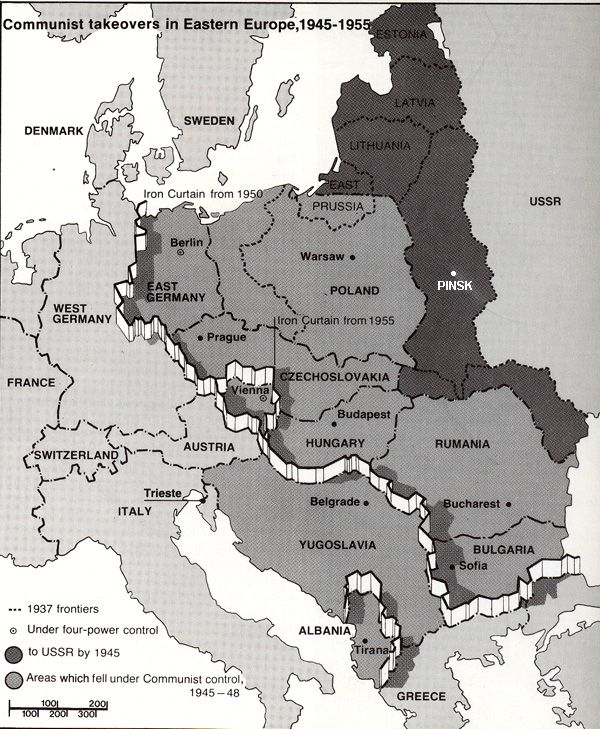 Map Depicting Communist Takeovers In Eastern Europe 1945 1955
