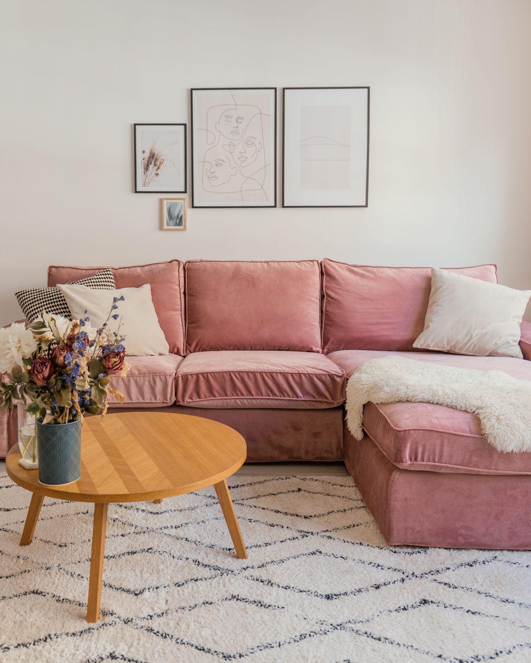Custom Ikea Kivik Sofa Cover In Velvet Pink Fabric By Bemz Design