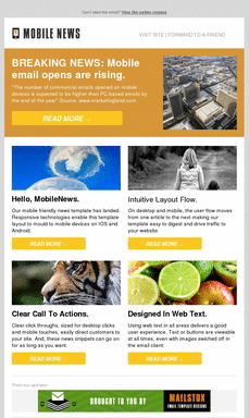 Mobile Email Templates Mobile Responsive Mailstox Two Column Preview