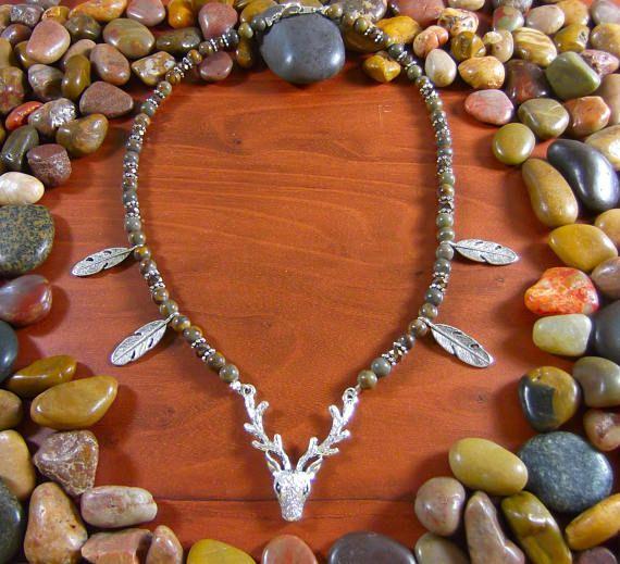 Bamboo Leaf Jasper Deer Necklace by Starshine Beads on Etsy