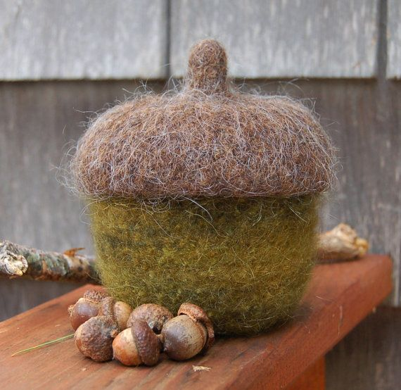 felted wool bowl fall decor covered acorn by maddy