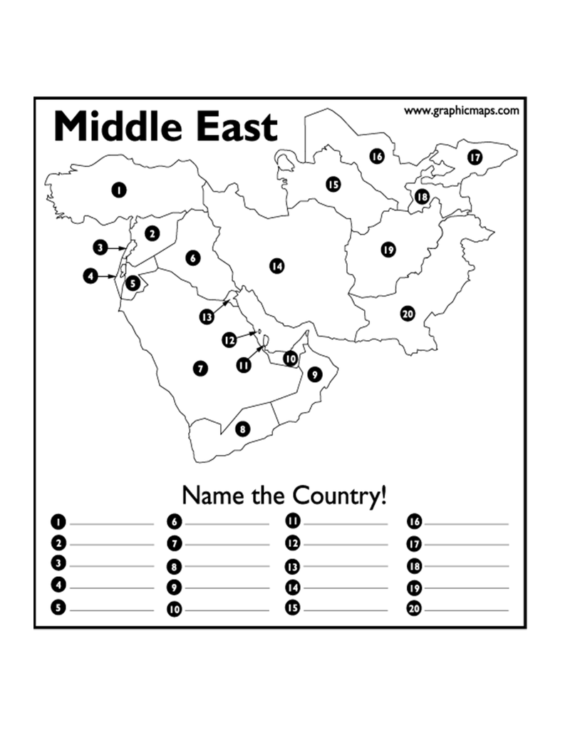Middle East Map Test Pin on Geography