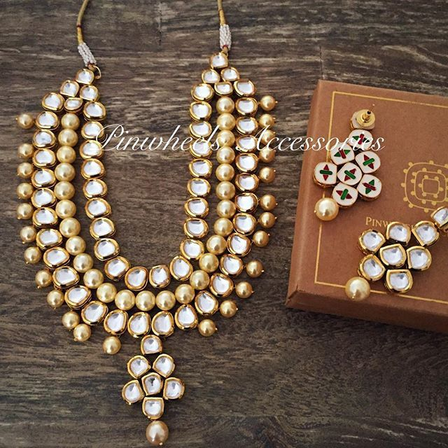 f34b26198 Kundan necklace with earrings ! Rs 12000 Whatsapp to order on 9819082923
