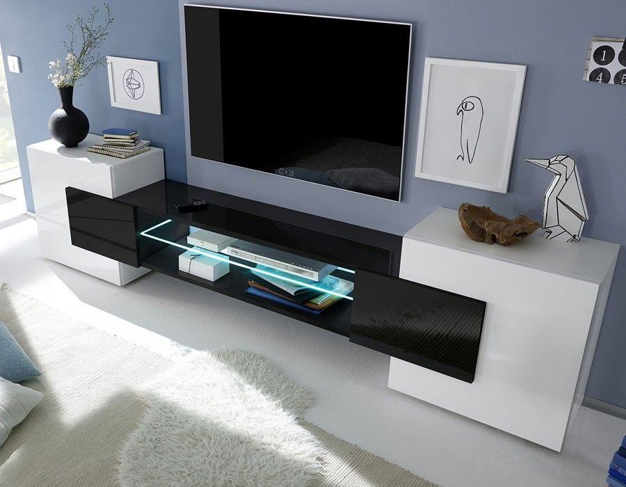 Meuble tv moderne laqu blanc et noir trivia 3 salon for Meuble tv contemporain design