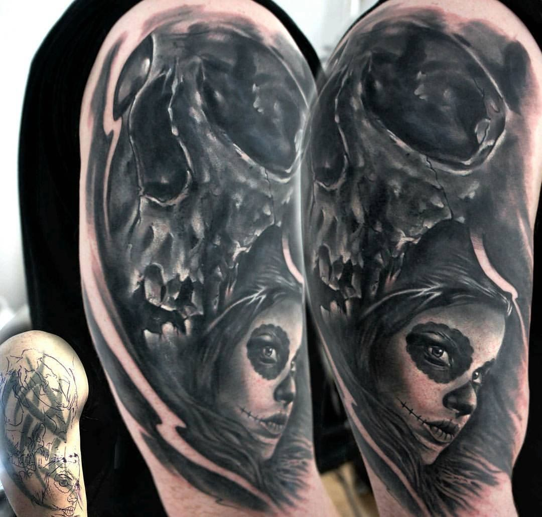 Skull Day Of The Dead Cover Up Tattoo By Seb Limited Availability At Redemption Tattoo Studio Cover Up Tattoos Body Art Tattoos Cover Up Tattoo