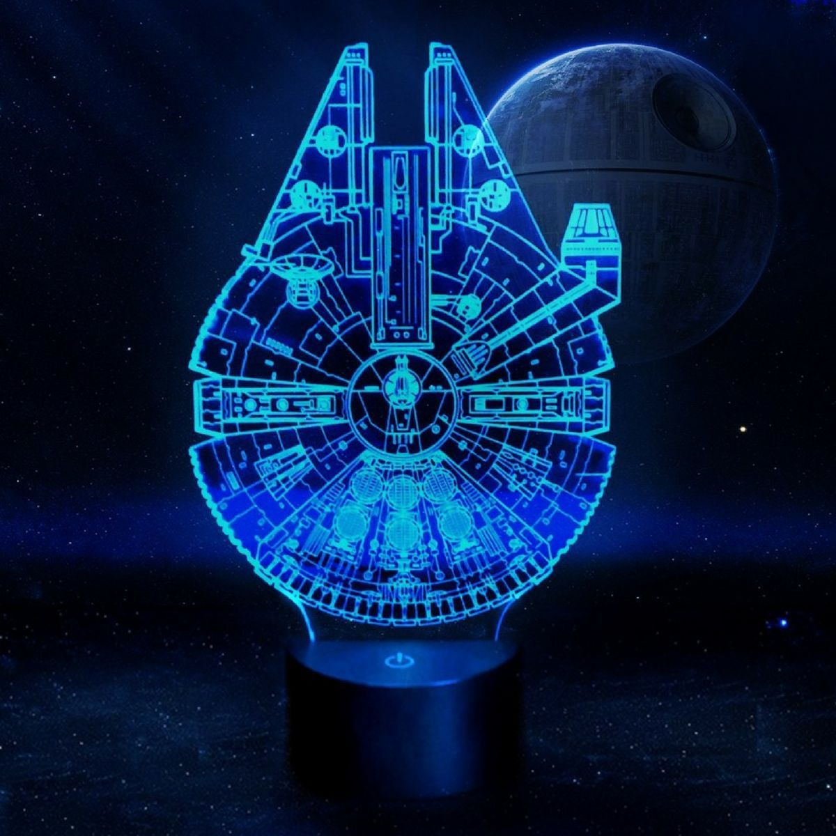 7 Color 3d Star Wars Millennium Falcon Led Lamp Millennium Falcon Star Wars Gifts Metal Earth