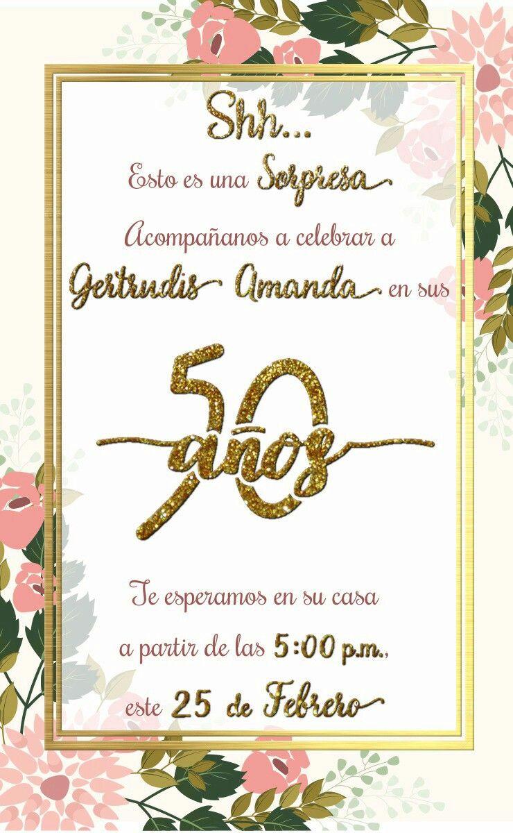 Invitación 50 Años Fiesta Sorpresa Gold And Glitter