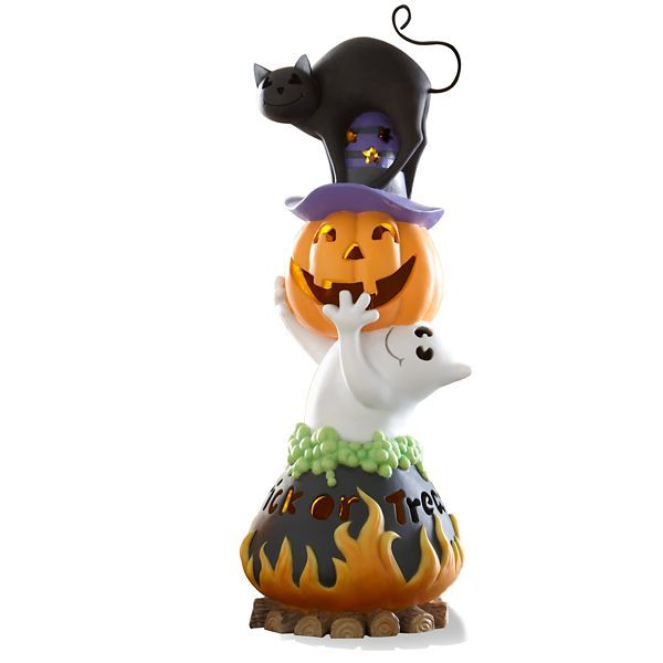 Its time to add some glow to your Halloween with the Trick or Treat Lighted Halloween Figurine. A sweet ghost holds up a jack-o-lantern over a cat to create this fun lighted sculpted figurine. Add a bit of whimsy to your Halloween.