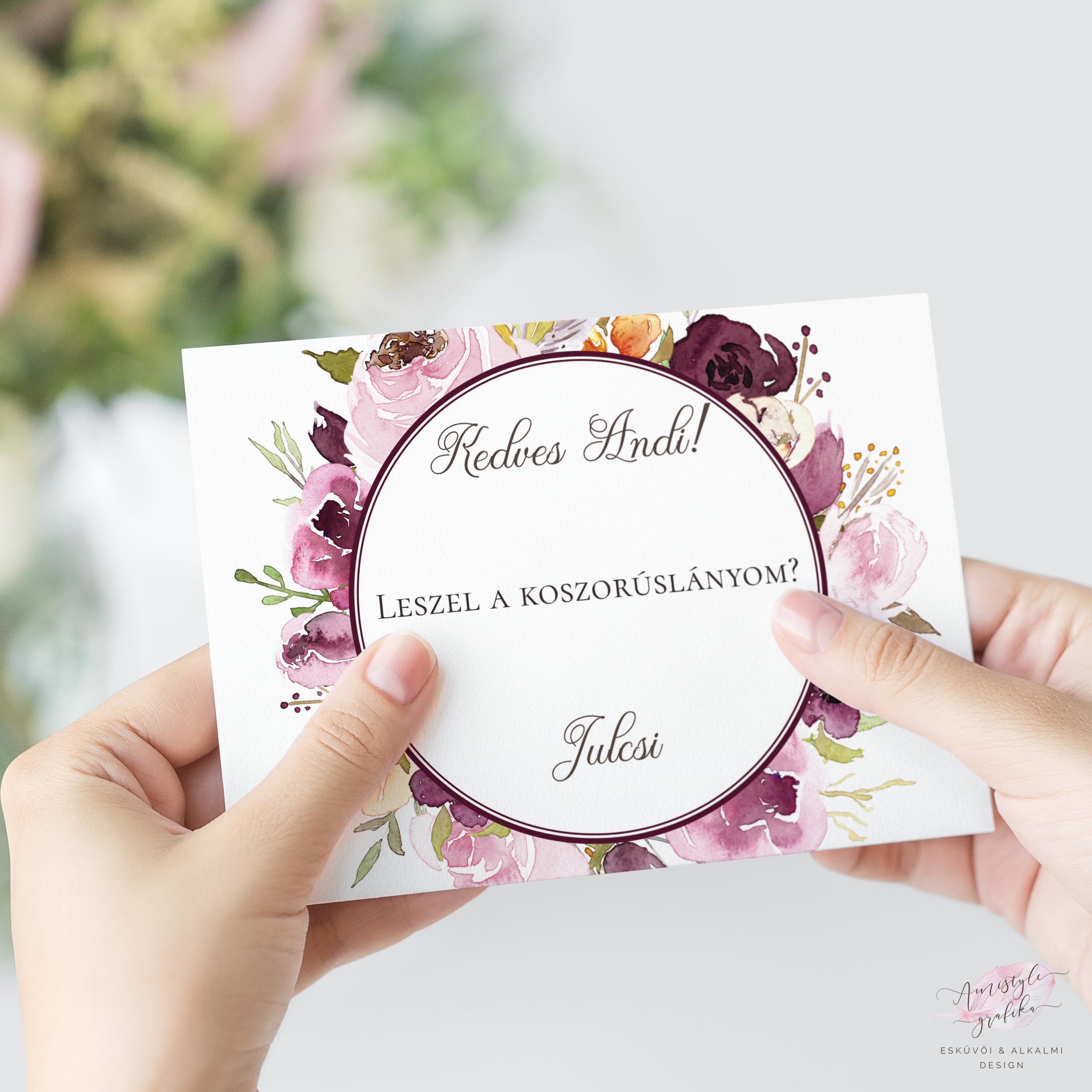 bc1a727eeb Bordó Virágos Koszorúslány Felkérő Lap - Esküvői Meghívó, Alkalmi és  Családi Grafika Webáruház