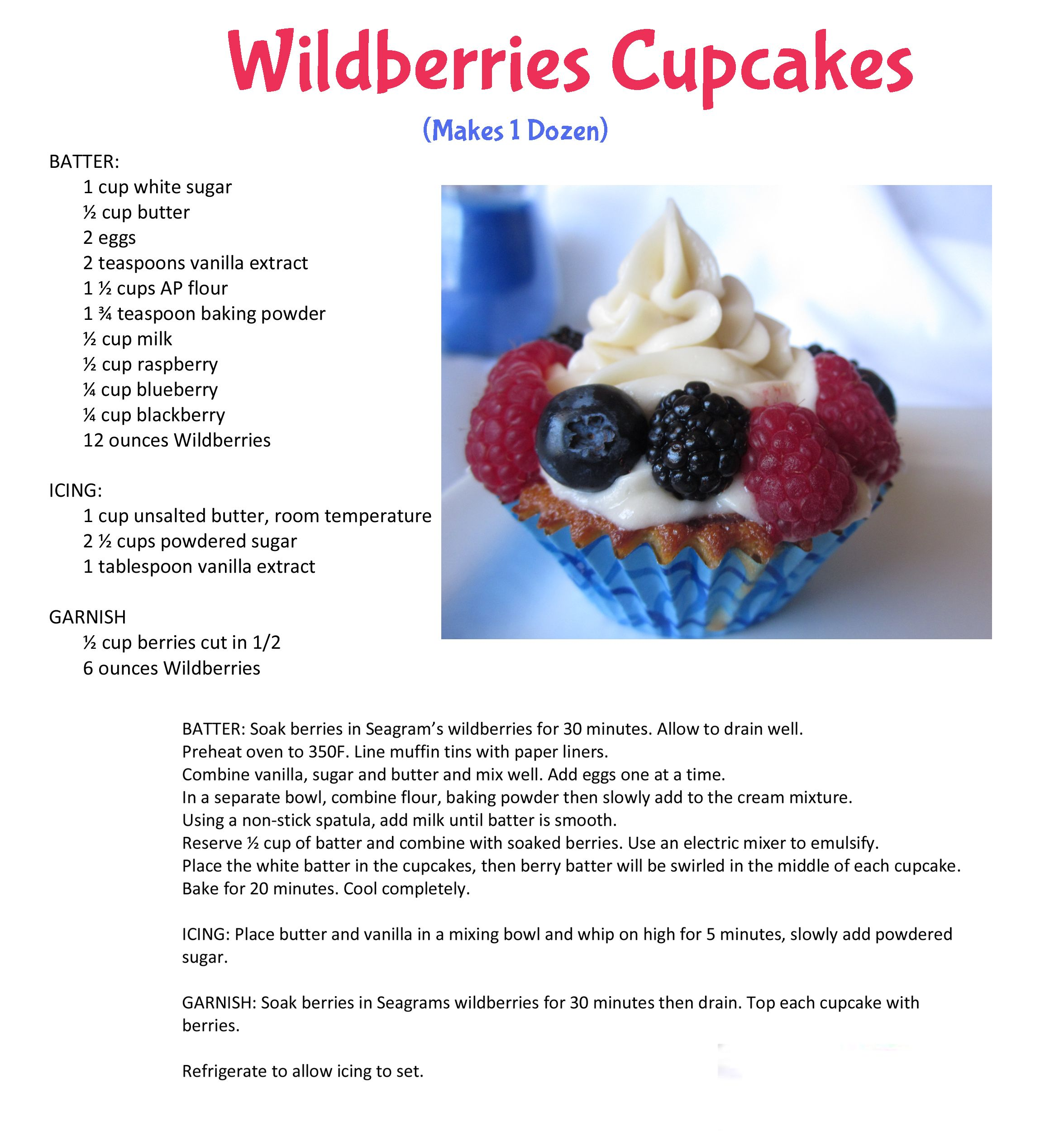 Cupcakes made with Seagram's Escapes Wild Berries!