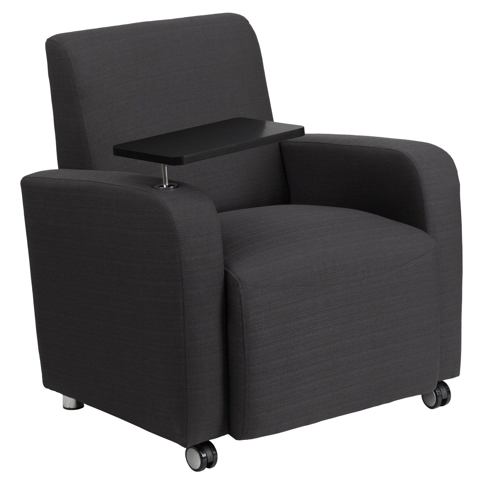 Flash Furniture Fabric Guest Chair With Tablet Arm And Front Wheel