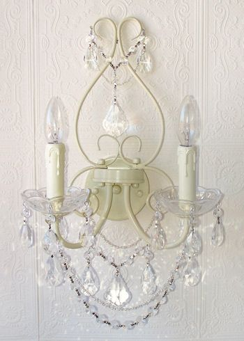 Antique White Crystal Double Light Wall Sconce