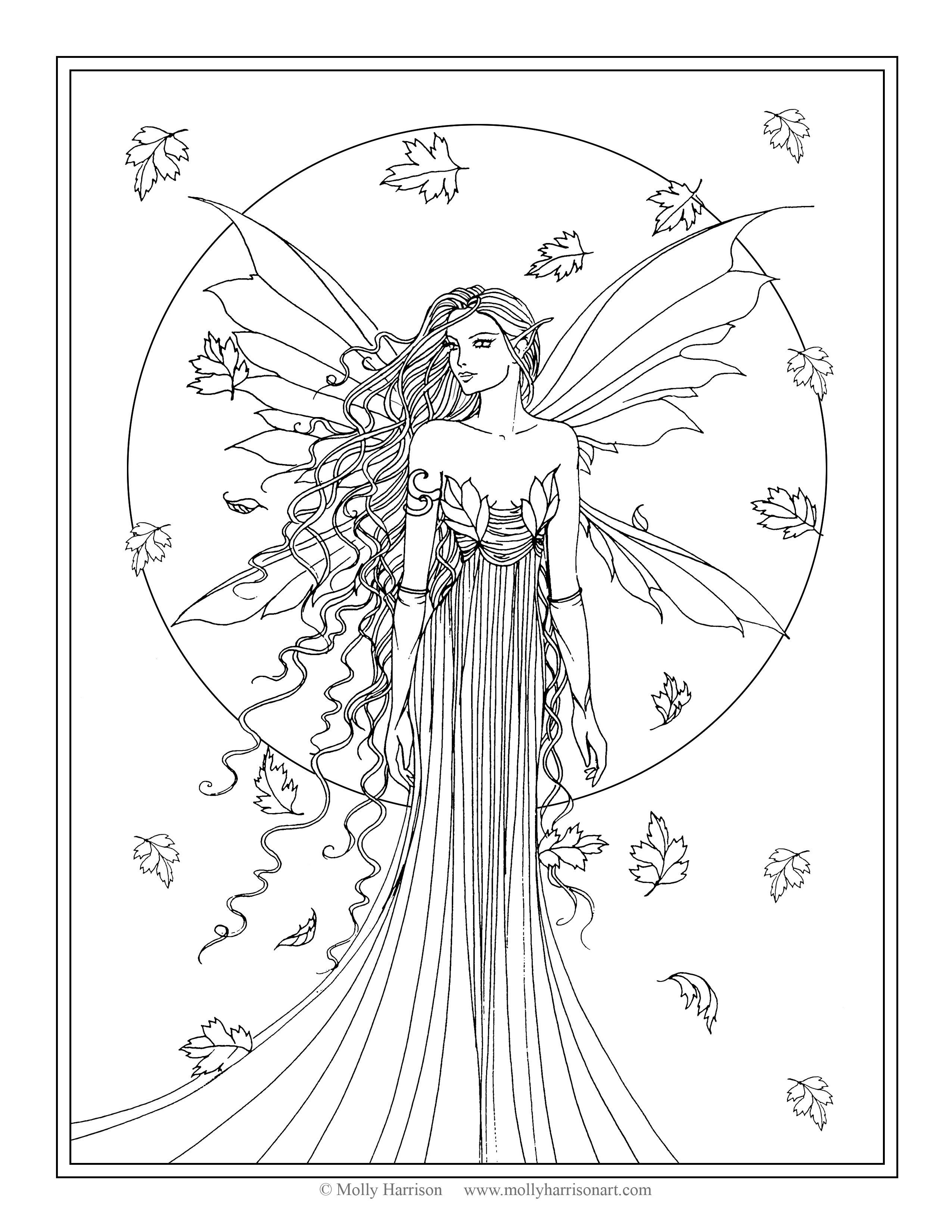Free Coloring Page Fall Fairy By Molly Harrison Fantasy Art