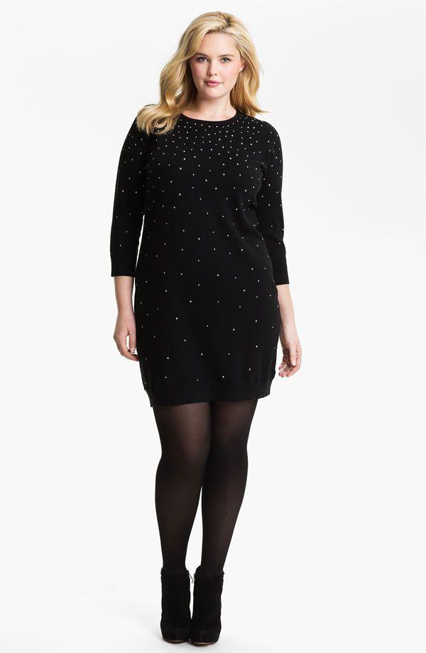 Michael Michael Kors Black Studded Sweater Dress Plus Size