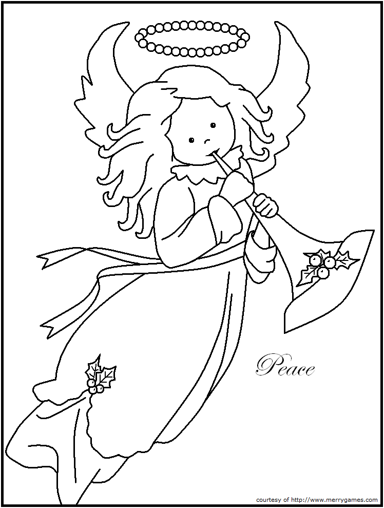 peace on Earth angel | Christmas coloring pages 1 ...