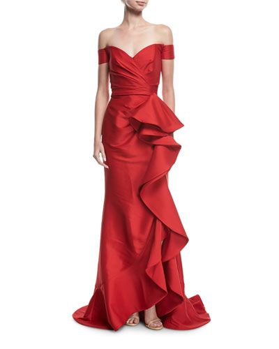 5d03727f7f92 BADGLEY MISCHKA COLLECTION OFF-THE-SHOULDER RUFFLED GOWN.   badgleymischkacollection  cloth