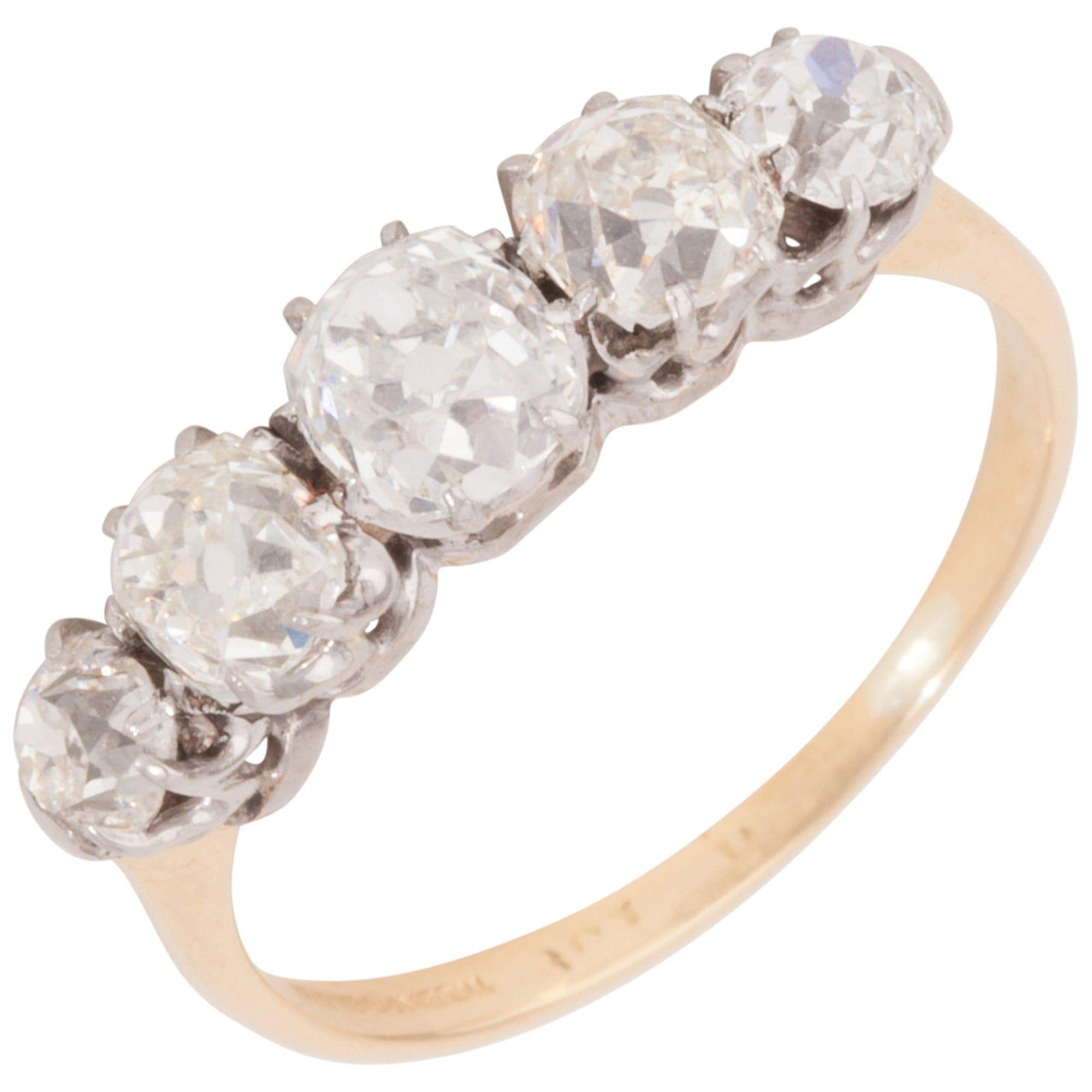 236454ba8ddbb Pre-Owned 18ct Yellow Gold 1.20 Carat Old Cut Diamond Dress Ring ...