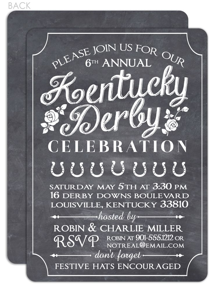 Chalkboard Kentucky Derby Party Invitation Kentucky Derby Party
