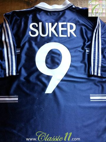 3ad8cc6b9 Davor Šuker s 1998 1999 season with this vintage Adidas Real Madrid away  football shirt.