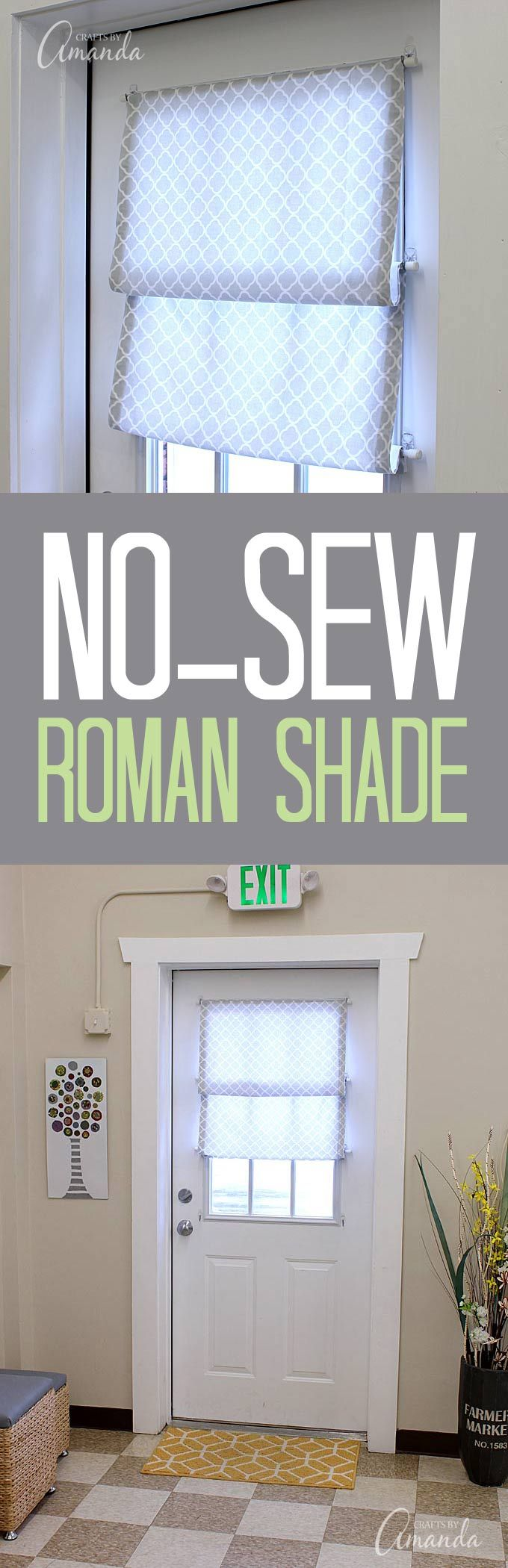 Door window roman shade - How To Make A No Sew Roman Shade For Your Window Or Door This One