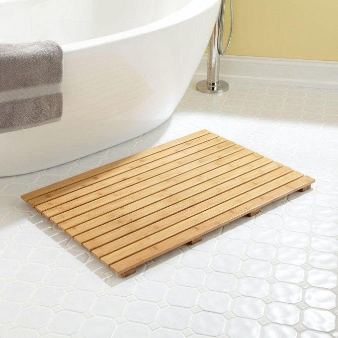 36 X 24 Rectangular Bamboo Bath Mat Teak Shower Mat Teak