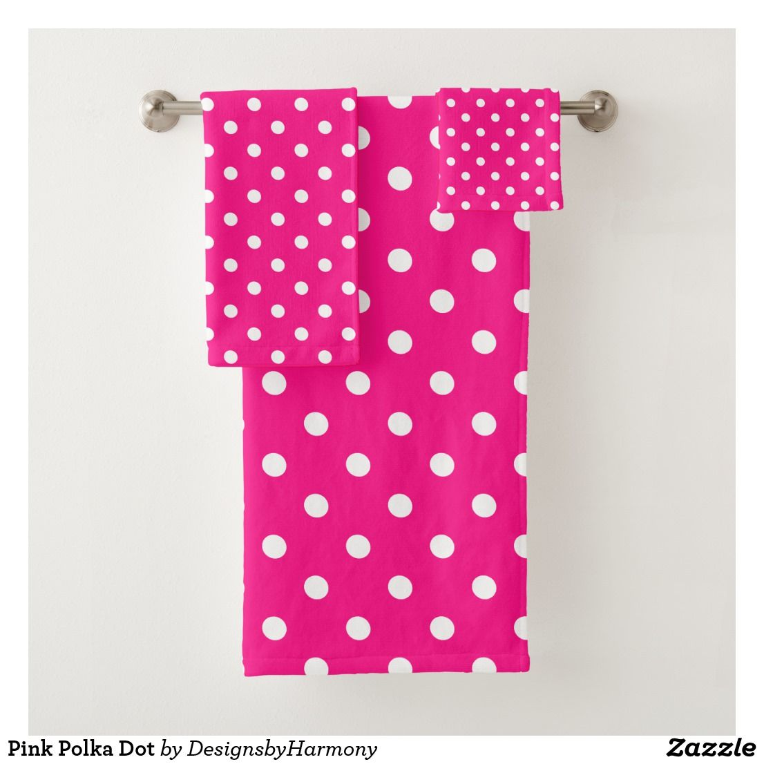 Pink Polka Dot Bath Towel Set Zazzle Com With Images Pink