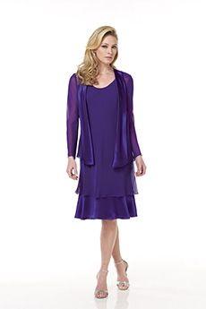 Sheath/Column Scoop Knee-length Chiffon Elastic silk-like Satin Mother of the Bride Dress