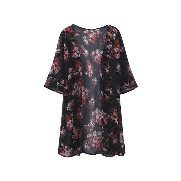 Half Sleeve Floral Printed Summer Chiffon Kimono Cardigans ($17 ...
