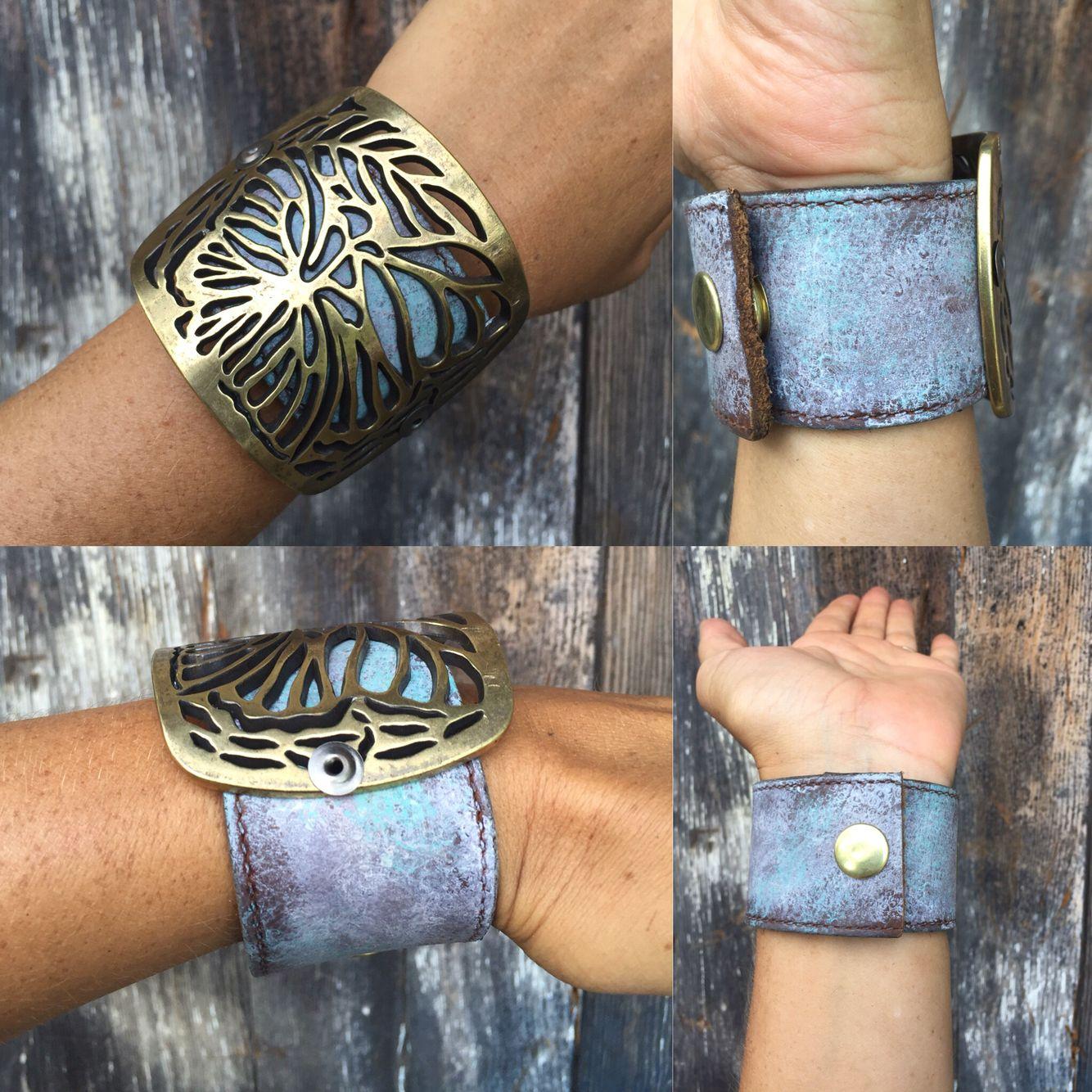 Painted belt cuff with repurposed belt buckle. Super cool and unique.  #SteelShopDesigns #cuff #beltcuff #leathercuff #cuffbracelet #ooak #ooakjewelry