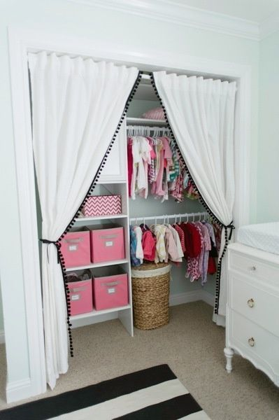 Lovely I Love The Idea Of Making A Nursery Closet Bigger And More Usable By  Removing The Closet Door(s), But Adding This Curtain ...