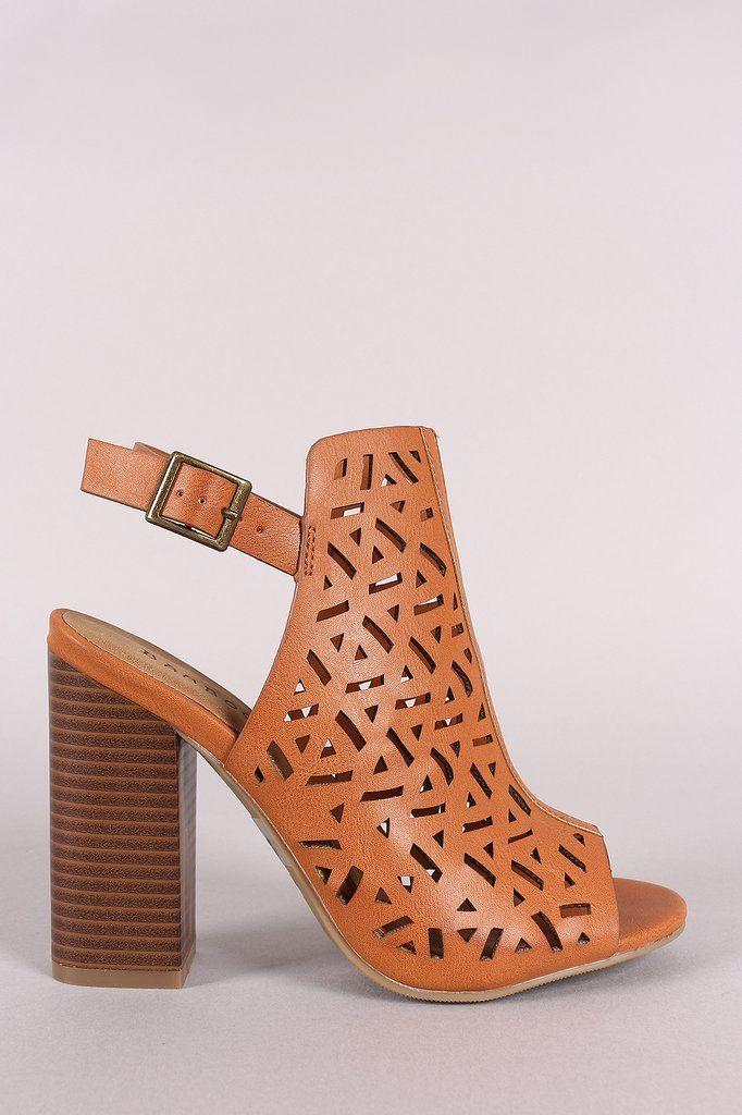 a0e7a848cea Bamboo Perforated Open Toe Chunky Mule Heel