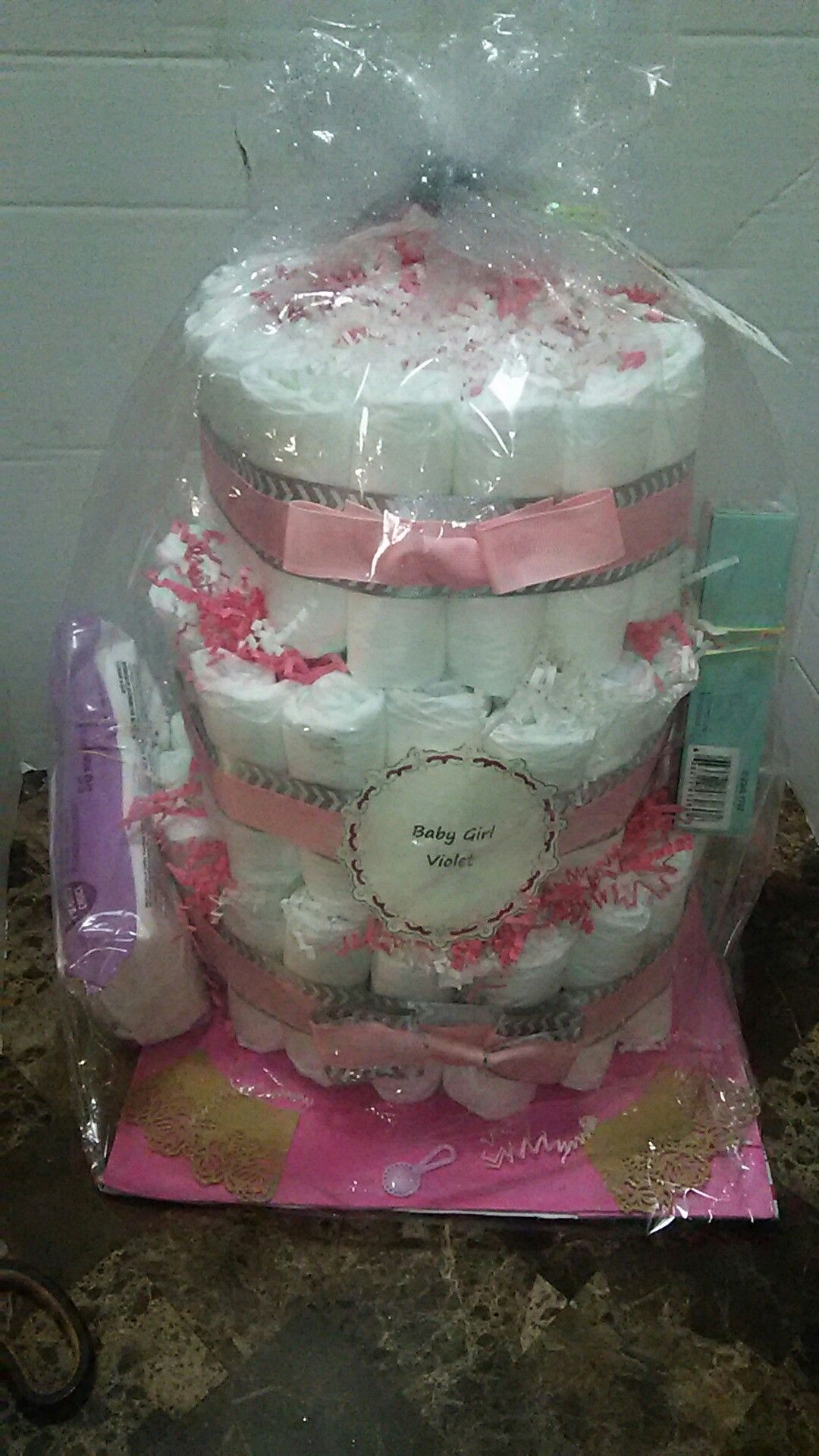Big 3 tier diaper cake in chevron gray pink with baby