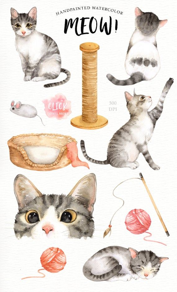 Meow Cat Lover Watercolor Cliparts Woodland Animals Kids Clipart Dog Clipart Nursery Decor Animal With Flower Crown Cat Kitty Watercolor Cat Cat Art Cat Lovers