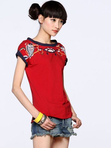 Nextwholesale.com…..new arrival…the most popular #clothing in #China,   #shirt,#dress,#pant,#tops  #Wholesale passionate round collar t shirt for women