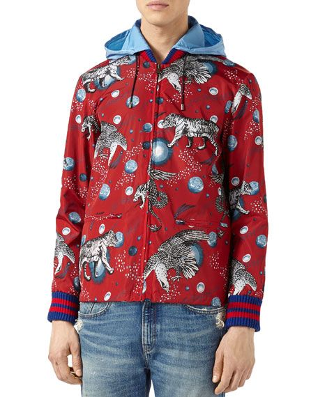 908066e51 GUCCI Space Animals Rain Jacket, Red. #gucci #cloth # | Gucci Men ...