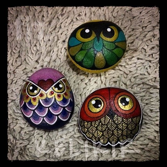 stone + acrylic + ink #owlsofinstagram #owlobsession #owlcollection…