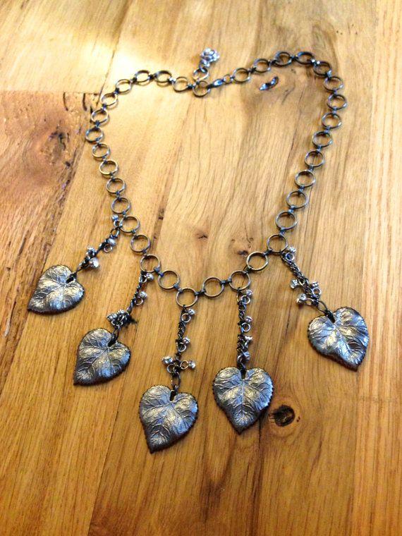Leaf fringe necklace by LincolnStreetDesign on Etsy, $50.00