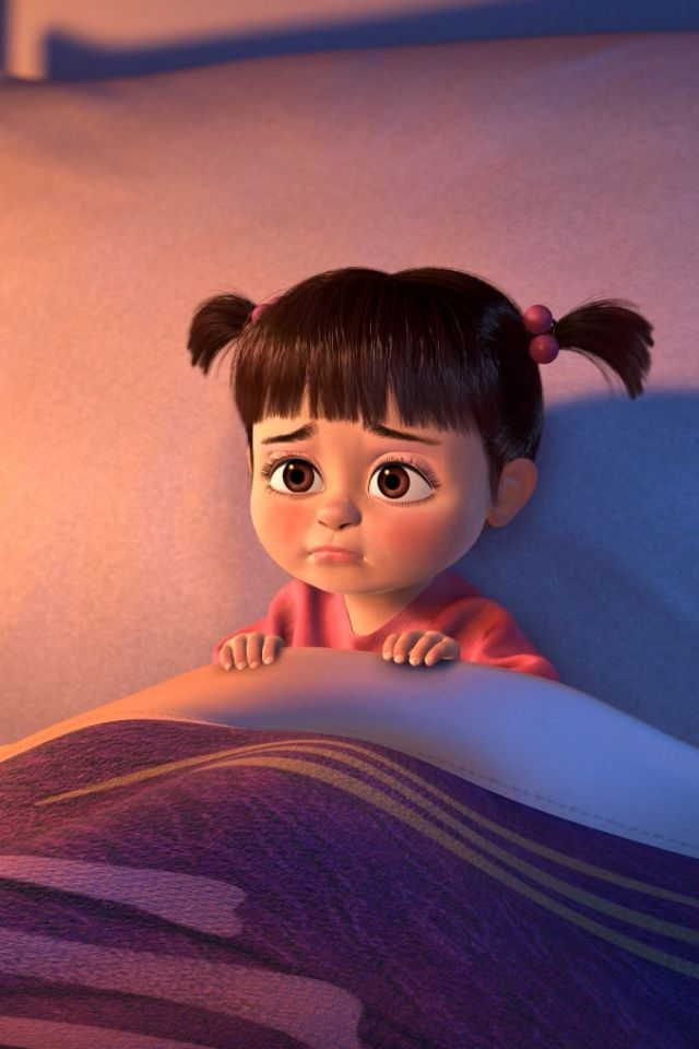 * Worried Boo is concerned that Randall is going to come out of Sulley's closet and scare her.